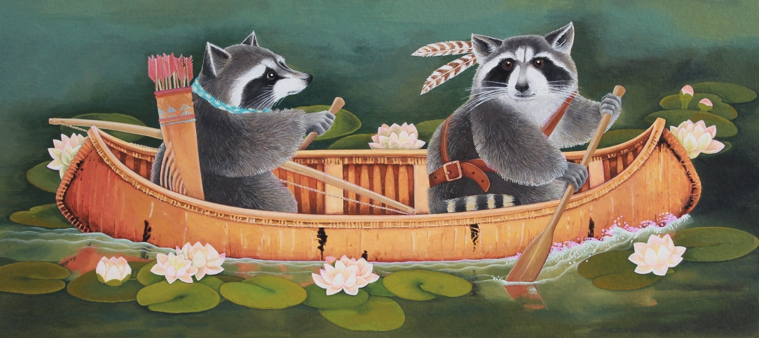 Two Racoons in a Canoe
